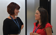 Heather Branigan and Louise Williams talk during a break from the Octo telematics roundtable