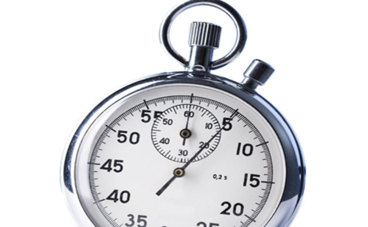 A silver stopwatch on a white background