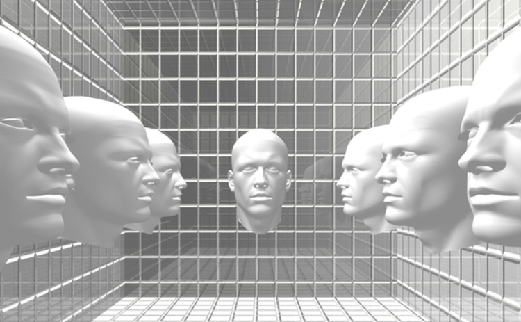 black-and-white-illustration-of-futuristic-robot-faces-displayed-on-3d-matrix