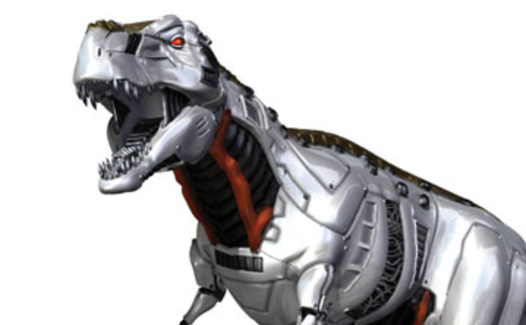 A silver and red robot dinosaur