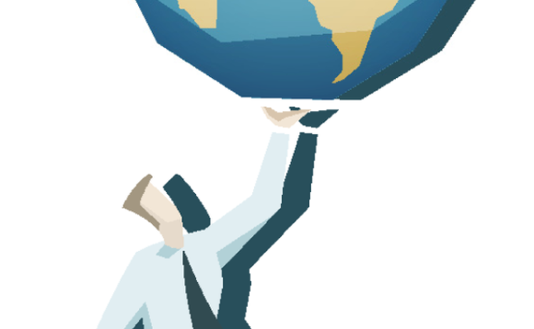Illustration of a businessperson carrying the world on one hand like a waiter