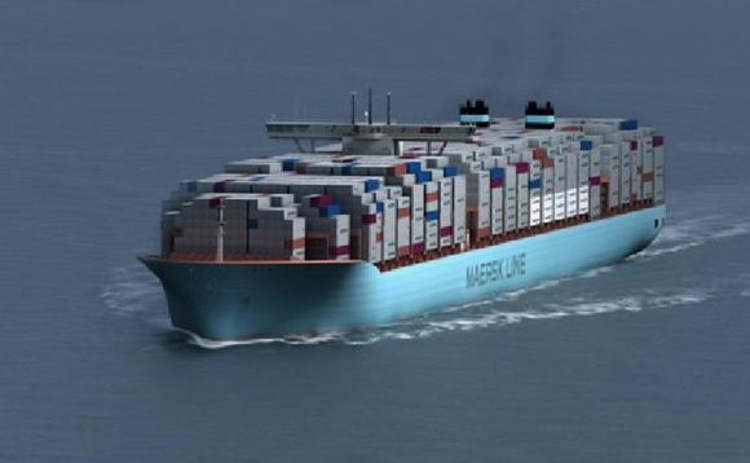 A Maersk Triple-E container ship