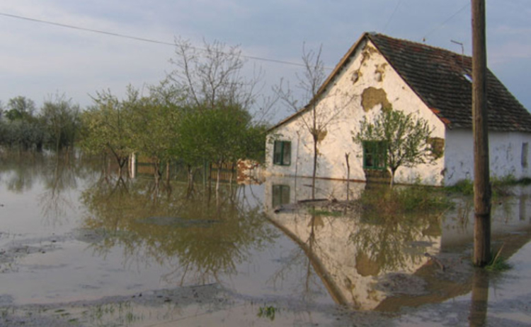 Flooded house from outside view