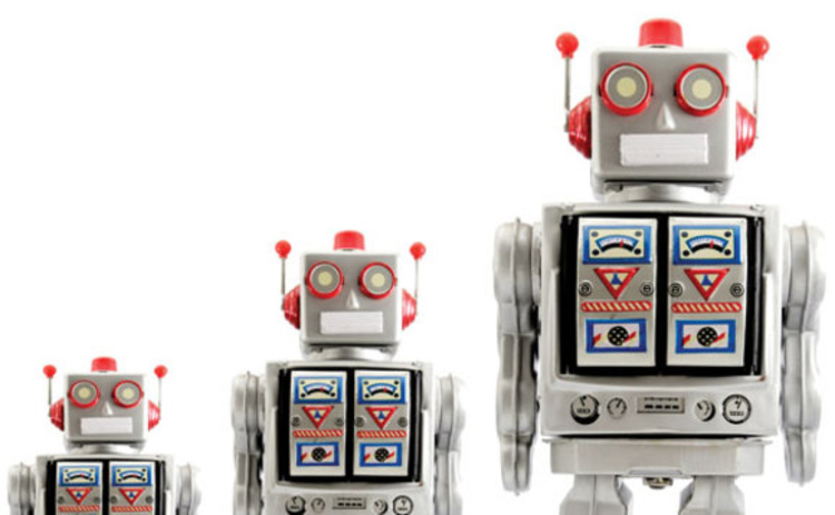Three different sized robots