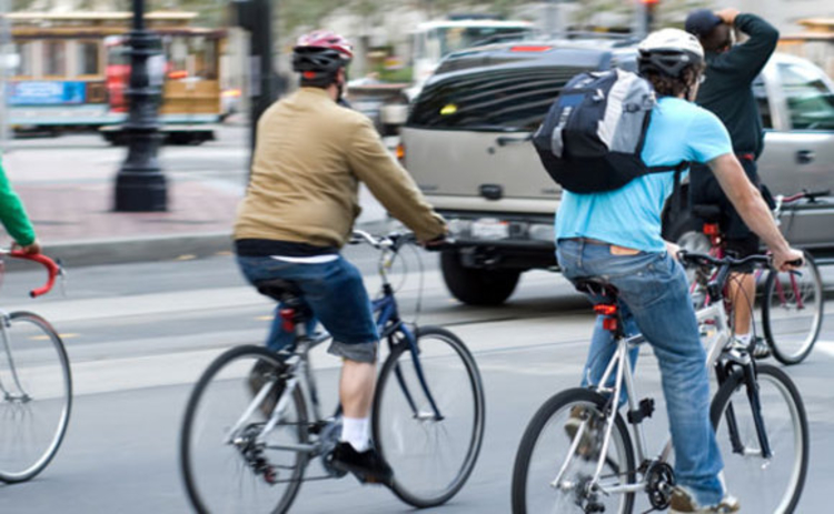 Cyclists in city traffic