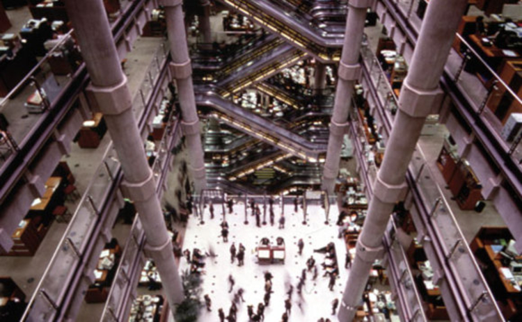 The interior of the Lloyd's building in London