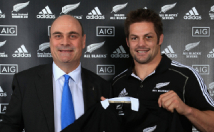 AIG property casualty CEO Peter Hancock and All Blacks captain Richie McCaw