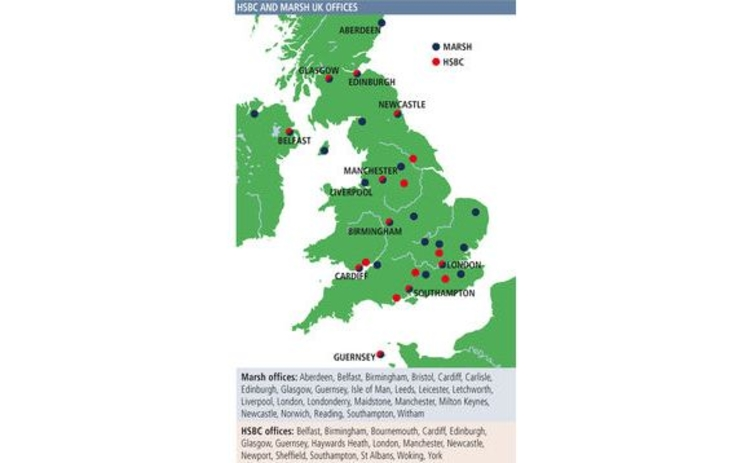 HSBC and Marsh UK offices map