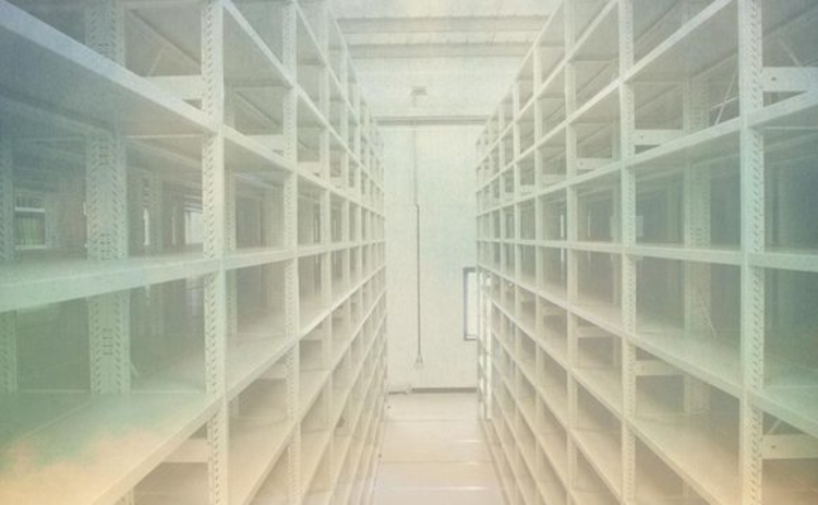 Concept image of empty shelving