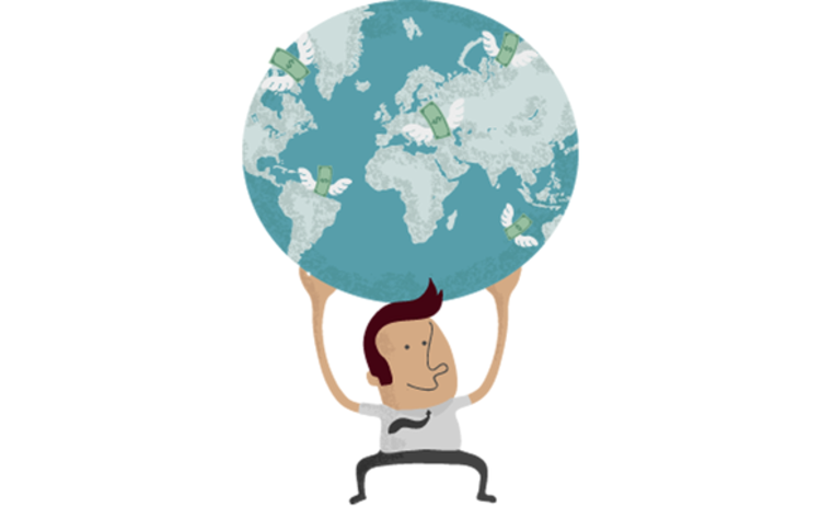 Illustration of man holding the world on his shoulders with money sprouting from individual countries