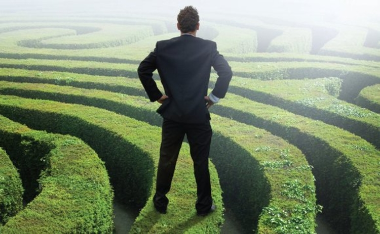 Man standing on maze