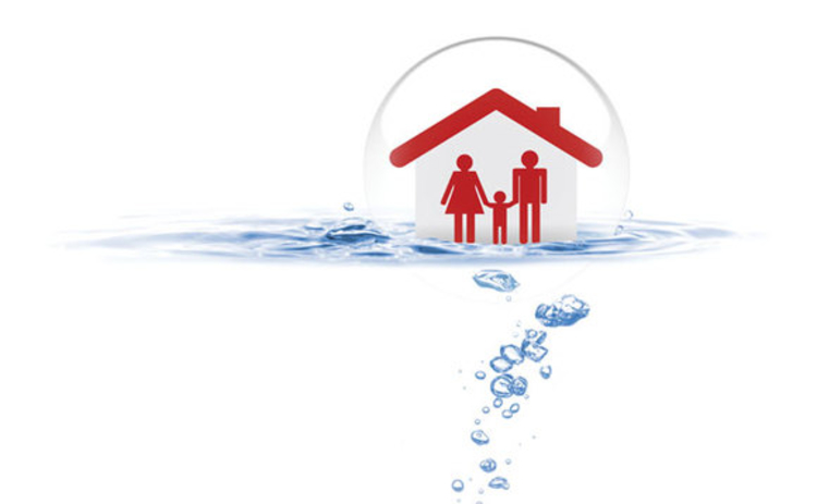 A family in a house within a bubble ontop of water
