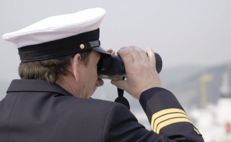 Naval officer with binoculars