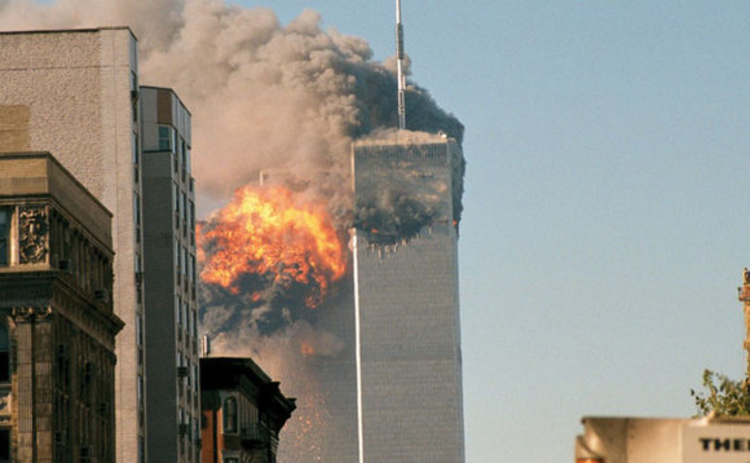 The impact on the Twin Towers on 11 September 2001 credit Robert J Fisch